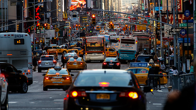 A traffic jam in New York City.